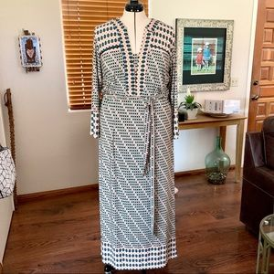 Melissa Masse MTM Boho print silky knit maxi dress